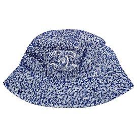 Chanel-New chanel bob hat S-White,Navy blue