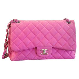 Chanel-CHANEL Jumbo Pink Suede Caviar classic flap bag-Pink
