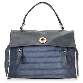 Yves Saint Laurent-YSL Blue Muse Zwei geprägte Lederhandtasche-Blau