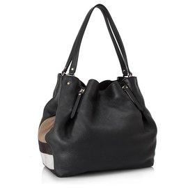 Burberry-Burberry Black Medium Maidstone Leather Tote Bag-Brown,Black,Light brown