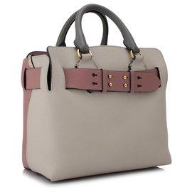 Burberry-Burberry Gray Small Marais Belt Leather Satchel-Pink,Grey