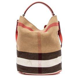 Burberry-Burberry Brown Medium House Check Ashby Satchel-Brown,Black,Light brown