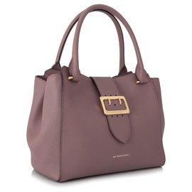Burberry-Burberry Pink Medium Buckle Leather Satchel-Pink