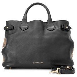Burberry-Burberry Black Medium Banner Leather Tote-Brown,Black,Light brown
