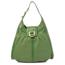 Bulgari-Sac porté épaule en cuir vert Bvlgari-Vert