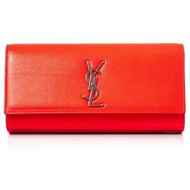 Yves Saint Laurent-YSL Orange Cassandre Leather Clutch Bag-Orange