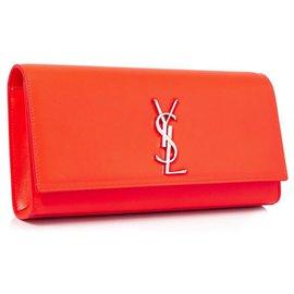Yves Saint Laurent-Pochette en cuir Cassandre YSL Orange-Orange