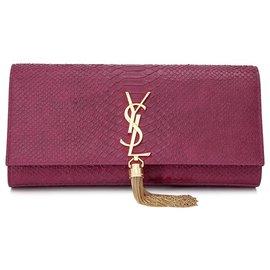 Yves Saint Laurent-Pochette en cuir gaufré rose Cassandre YSL-Rose