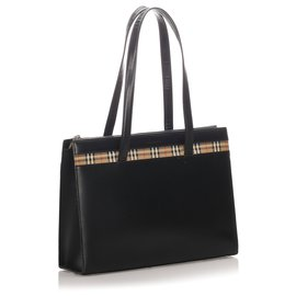 Burberry-Burberry Black Leather Tote Bag-Black,Multiple colors