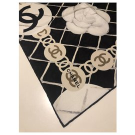 Chanel-CHANEL black silk scarf-Black