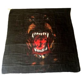 Givenchy-GIVENCHY Cashmere and Silk Scarf-Black,Multiple colors