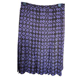 Chanel-Chanel Purple Brown Lucky Clover CC Top & Skirt Set-Brown,Purple
