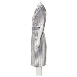 Derek Lam-Utility Shirt Dress-White,Beige,Dark grey