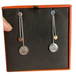 Hermès-Hermès Ex-Libris earrings, Small model-Silvery,Pink