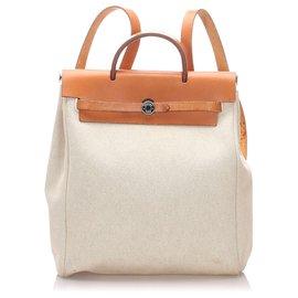 Hermès-Hermes White Canvas Herbag Backpack-Brown,White