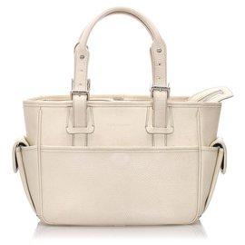 Burberry-Burberry White Leather Handbag-White