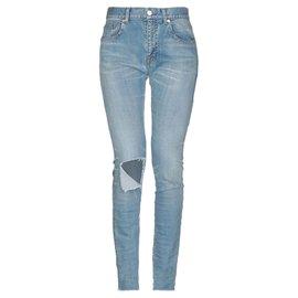 Balenciaga-blue distressed jeans-Blue