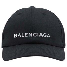 Balenciaga-black Logo embroidered cap-Black