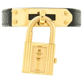 Hermès-KELLY WTACH GOLD DIAL BLACK LEATHER-Black,Golden