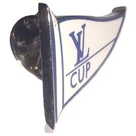 Louis Vuitton-LOUIS VUITTON CUP Jackenstift.-Silber,Weiß,Blau