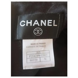 Chanel-Chanel, black wool and satin dress-Black