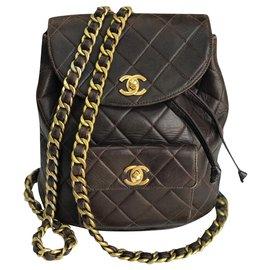 Chanel-Iconic Duma Brown Backpack Vintage-Brown,Dark brown