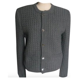 Thom Browne-THOM BROWNE Gray wool cable jacket very good condition T1-Grey