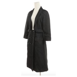 Chanel-CHANEL Black silk coat coat T42 Nearly new condition-Black