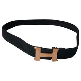 Hermès-HERMES Vintage canvas mini constance belt 1984-Black