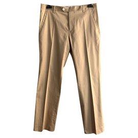 Roberto Cavalli-Beige satin cotton trousers-Beige