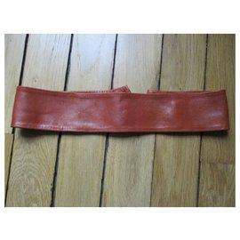 Chloé-Wide camel leather belt.-Caramel
