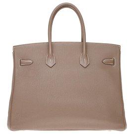 Hermès-Stunning Hermes Birkin handbag 35 in Togo tow, Palladie silver metal trim-Grey