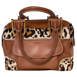 Chopard-Ladies leather handbag combined with leopard printed pony hair-Caramel
