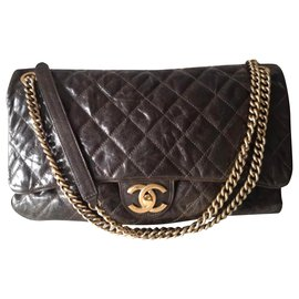 Chanel-Chanel Maxi Shiva easy flap bag-Taupe