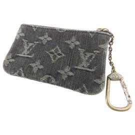 Louis Vuitton-Porte-clés en denim monogramme gris Louis Vuitton-Autre,Gris