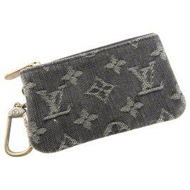 Louis Vuitton-Louis Vuitton Gray Monogram Denim Key Pouch-Other,Grey