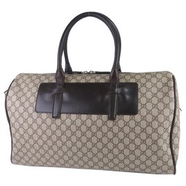 Gucci-Gucci Brown GG Supreme Duffle Bag-Marron,Beige,Marron foncé