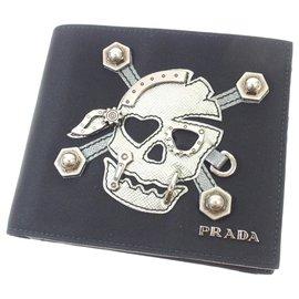 Prada-Prada Black Tessuto Skull Bifold Wallet-Black,White