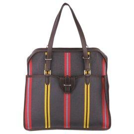 Hermès-Sac à bandoulière Hermes Gray Toile Sac Jumping-Multicolore,Autre,Gris