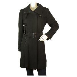 Burberry-Burberry BRIT Woman's Belted Black Wool Jacket Midi Coat sz UK 10, USA 8, ITA 42-Black