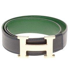 Hermès-Hermès Reverse Constance belt in Courchevel navy & green, gold-plated metal H buckle-Green,Navy blue