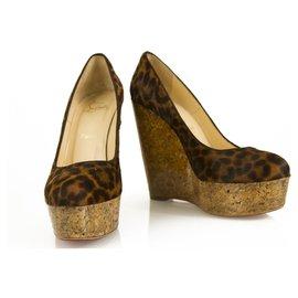 Christian Louboutin-Christian Louboutin Leopard Print Pony Hair Cork Platform Wedges Size 37-Multiple colors