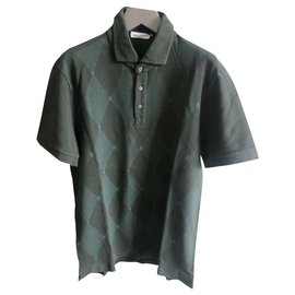Ballantynes-NEW PRINTED POLO-Dark green