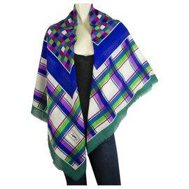 Yves Saint Laurent-Yves Saint Laurent extra large Square Wool Silk Scarf pashmina multicolor check-Multiple colors