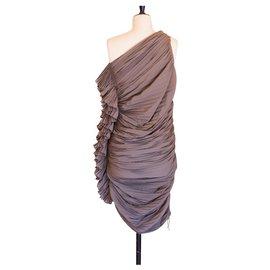 Lanvin-Robe plissée-Kaki