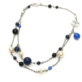 Chanel-Chanel Silver CC Faux Pearl Necklace-Silvery,Multiple colors