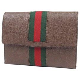 Gucci-Pochette en cuir marron Web Totem Gucci-Marron,Multicolore