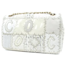 Chanel-Chanel White Medium Tweed Patchwork Flap Bag-Brown,White,Beige