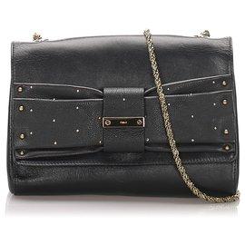 Chloé-Chloe Black June Bow Leather Shoulder Bag-Black