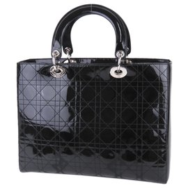 Dior-Cartable Lady Dior en cuir verni noir Cannage Dior-Noir
